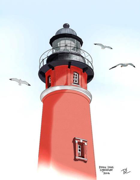 New Smyrna Beach Digital Art - Ponce De Leon Inlet Lighthouse by Deni Kroening