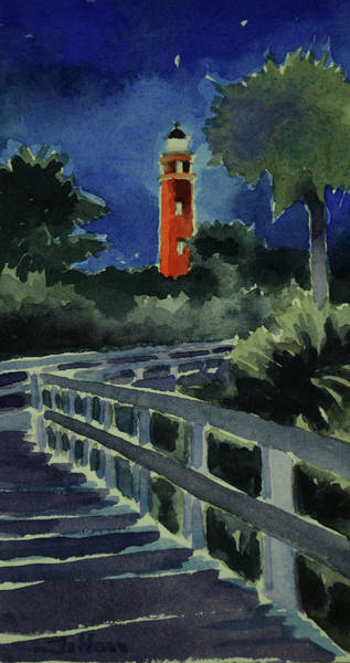 Ponce Inlet Lighthouse Before Dawn 7-5-17 Art Print