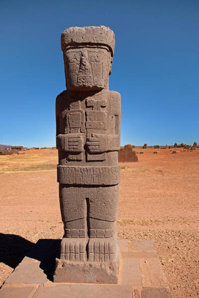 Photograph - Ponce Stela In Tiwanaku by Aivar Mikko