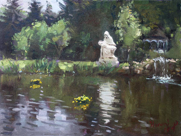 Wall Art - Painting - Pond At Our Lady Of Fatima Lewiston by Ylli Haruni