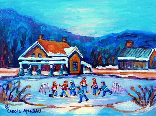 Painting - Pond Hockey Painting Canadian Art Original Winter Country Landscape Scene Carole Spandau    by Carole Spandau