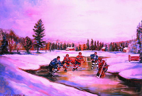 Painting - Pond Hockey Warm Skies by Carole Spandau