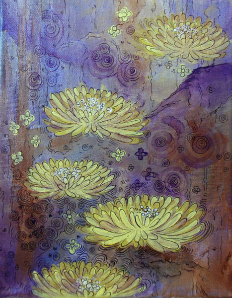 Complimentary Colors Mixed Media - Pond Of Narcissis by Jennifer Kelly