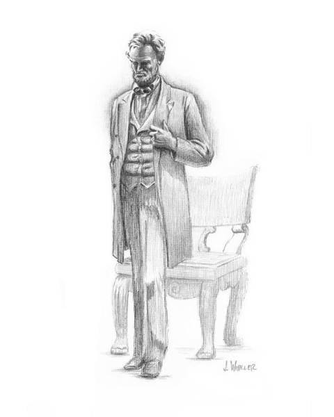 Drawing - Pondering Lincoln by Joe Winkler