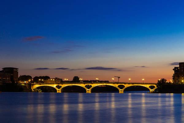 Chapel Bridge Photograph - Pont Des Catalans Lit Up At Night by Semmick Photo