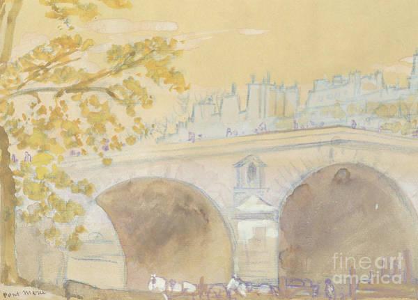 St Louis Arch Painting - Pont Marie From Quai Des Celestins by Arthur Bowen Davies