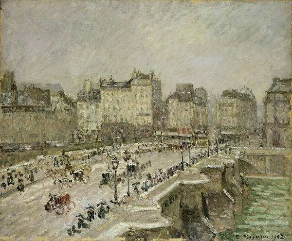 Urban Life Painting - Pont Neuf Snow Effect by Camille Pissarro
