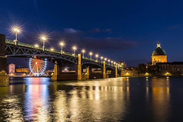 Chapel Bridge Photograph - Pont Saint-pierre With Street Lanterns At Night by Semmick Photo