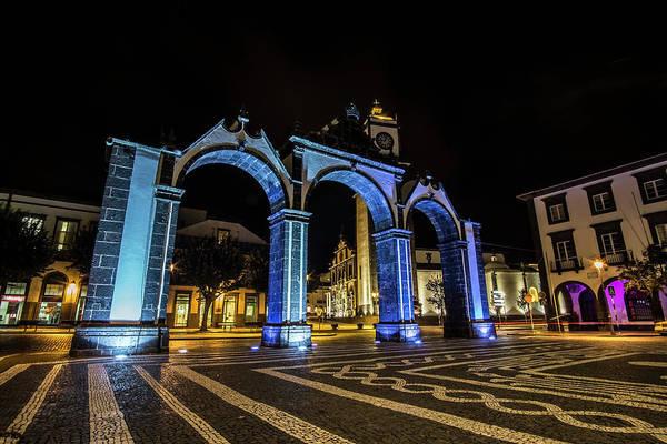 Photograph - Ponta Delgado's Iconic Three Arches At Night by Sven Brogren