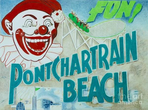 Aqua Drawing - Pontchartrain Beach by Glenda Zuckerman
