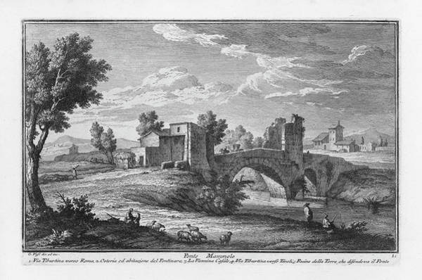 Drawing - Ponte Mammolo by Giuseppe Vasi
