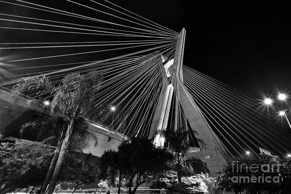 Photograph - Ponte Octavio Frias De Oliveira At Night - Sao Paulo, Brazil by Carlos Alkmin
