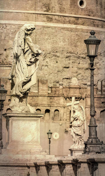 Wall Art - Photograph - Ponte Sant'angelo Statues Rome Italy by Joan Carroll