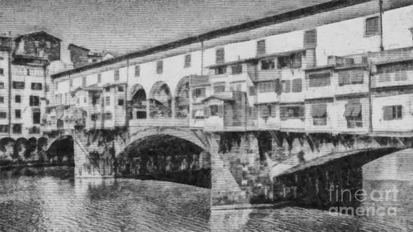Ancient Architecture Digital Art - Ponte Vecchio by Edward Fielding