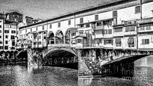 Famous Places Digital Art - Ponte Vecchio Florence Sketch by Edward Fielding