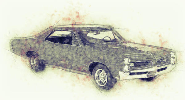 Four Wheeler Mixed Media - Pontiac Gto - 1967 - Automotive Art - Car Posters by Studio Grafiikka