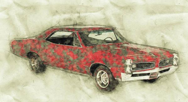 Four Wheeler Mixed Media - Pontiac Gto 2 - 1967 - Automotive Art - Car Posters by Studio Grafiikka