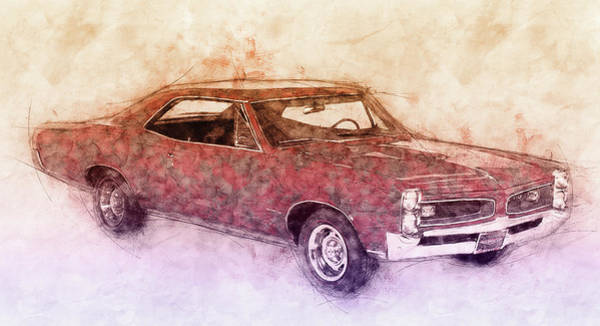Four Wheeler Mixed Media - Pontiac Gto 3 - 1967 - Automotive Art - Car Posters by Studio Grafiikka