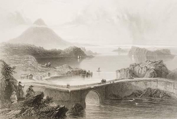 Conn Wall Art - Drawing - Pontoon Bridge, Lough Conn by Vintage Design Pics