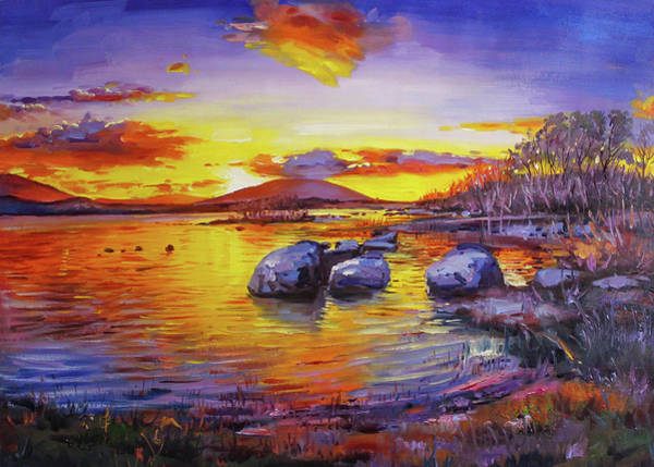 Conn Wall Art - Painting - Pontoon Sunset by Conor McGuire