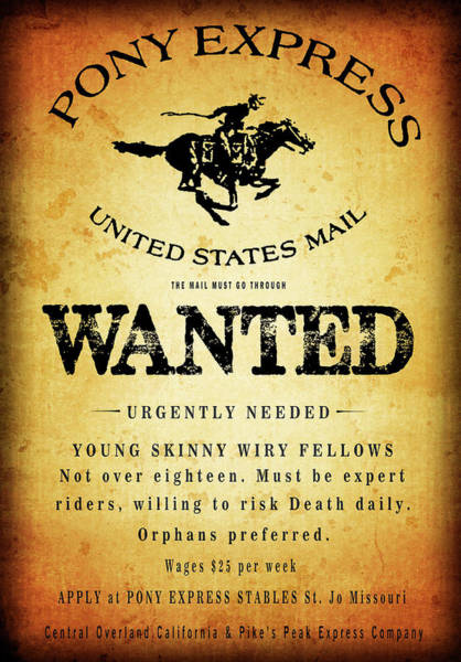 Wall Art - Digital Art - Pony Express Employment  by Daniel Hagerman