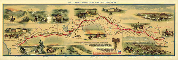 Wall Art - Photograph - Pony Express Route Map by William Henry Jackson