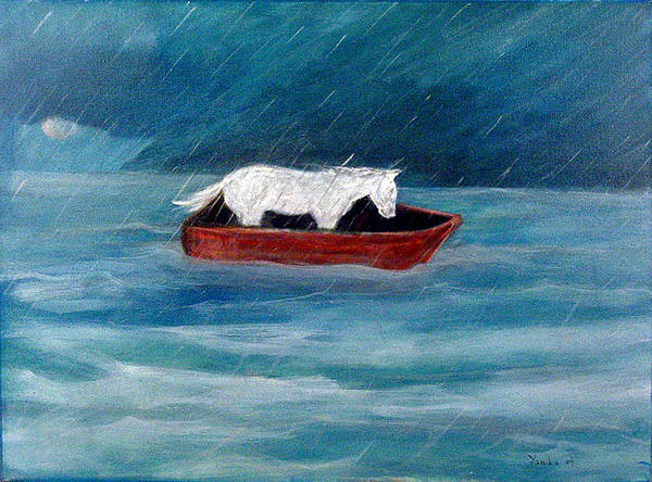 Painting - Pony In A Red Boat by Katt Yanda