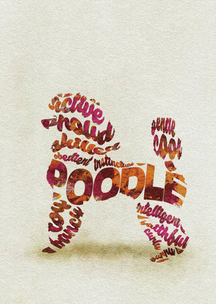 Poodle Wall Art - Painting - Poodle Dog Watercolor Painting / Typographic Art by Inspirowl Design