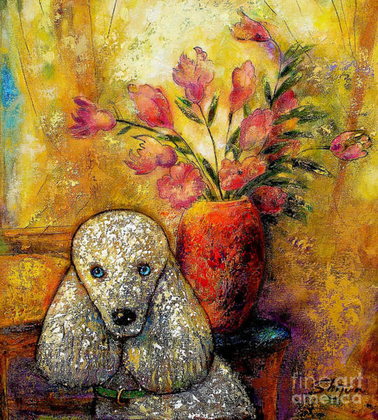 Wall Art - Painting - Poodle In The Morning by Shijun Munns