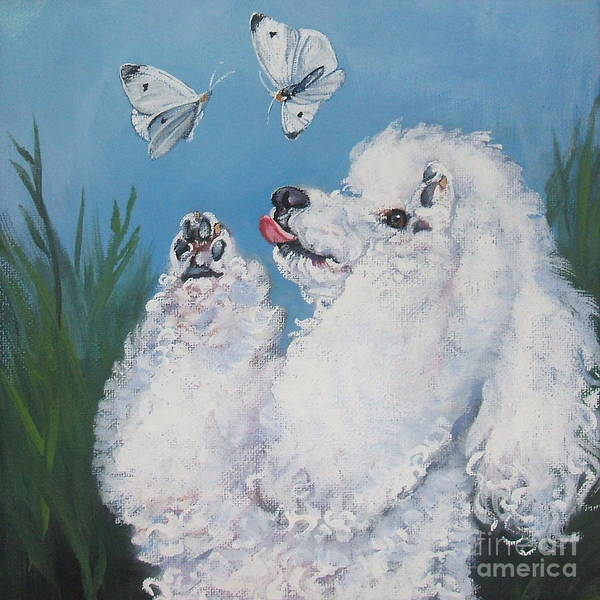 Poodle Wall Art - Painting - Poodle With Butterflies by Lee Ann Shepard