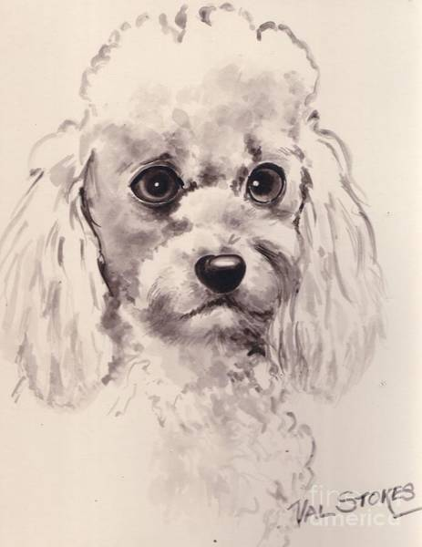 Painting - Poodlepup by Val Stokes