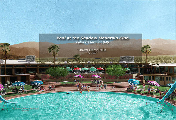 Wall Art - Painting - Pool At The Shadow Mountain Ranch Club 1940s by Melvin Hale