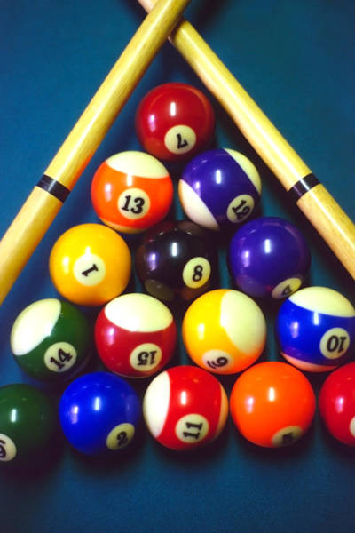 Pool Balls And Cue Sticks Art Print