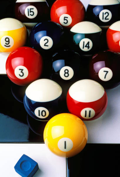 Pocket Photograph - Pool Balls On Tiles by Garry Gay