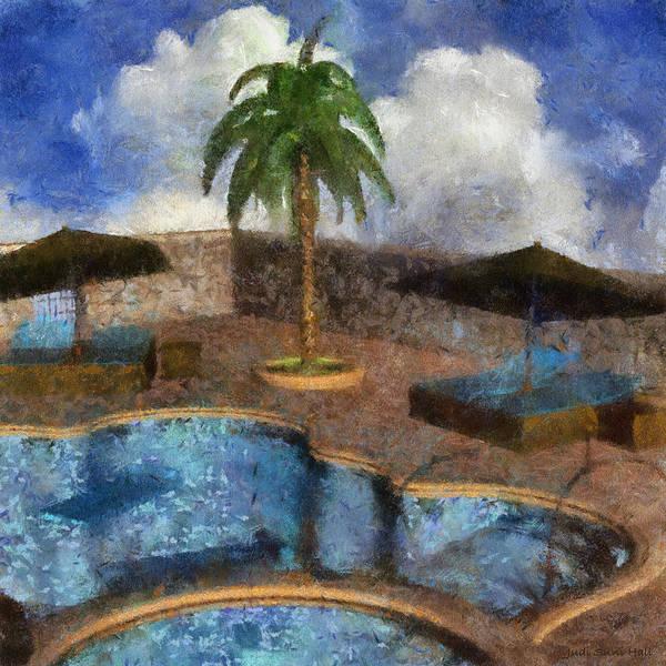 Digital Art - Pool With Palm Tree by Judi Suni Hall