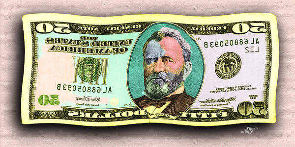 Painting - 50 Dollar Bill In The Wind Gold Green Mirror Image Pop Art  by Tony Rubino