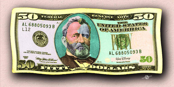 Painting - 50 Dollar Bill In The Wind Gold Green Pop Art  by Tony Rubino