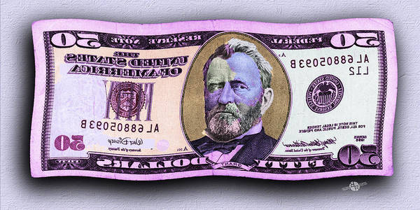 Painting - 50 Dollar Bill In The Wind Purple Pink Mirror Image Pop Art  by Tony Rubino