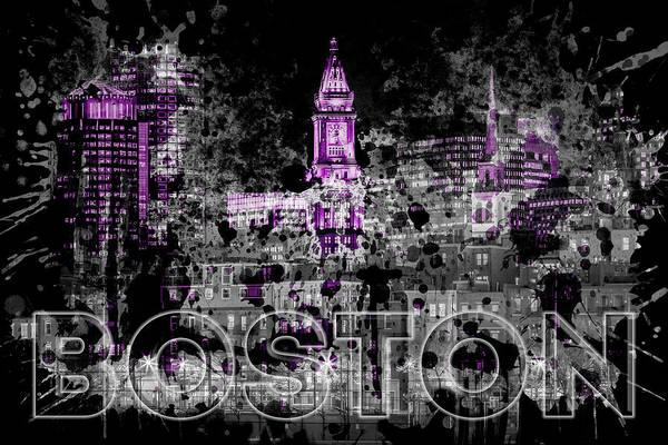Boston North End Wall Art - Photograph - Pop Art Boston Skyline - Purple by Melanie Viola