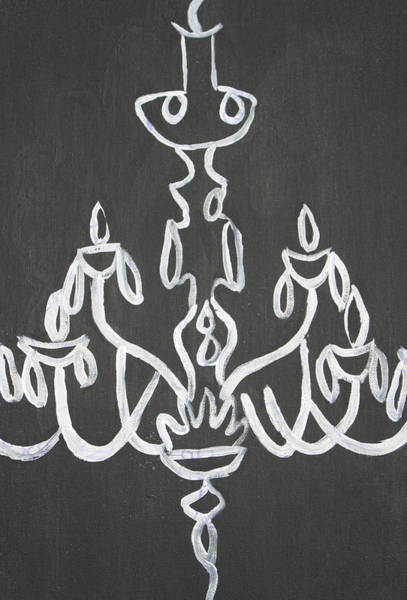 Wall Art - Painting - Pop Art Chandelier Paintings-black And White by Mikayla Ziegler