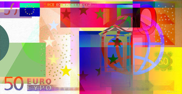 Digital Art - Pop-art Colorized Fifty Euro Bill by Serge Averbukh