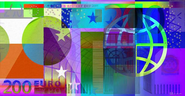 Digital Art - Pop-art Colorized Two Hundred Euro Bill by Serge Averbukh