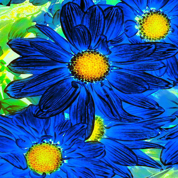 Wall Art - Painting - Pop Art Daisies 15 Square by Amy Vangsgard