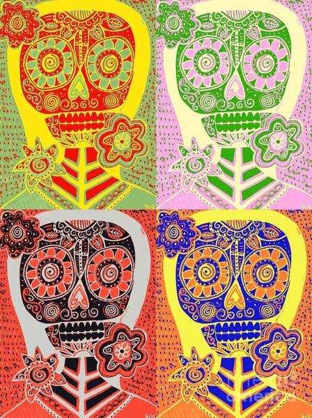 Painting - -pastel Pop Art Sugar Skulls by Sandra Silberzweig