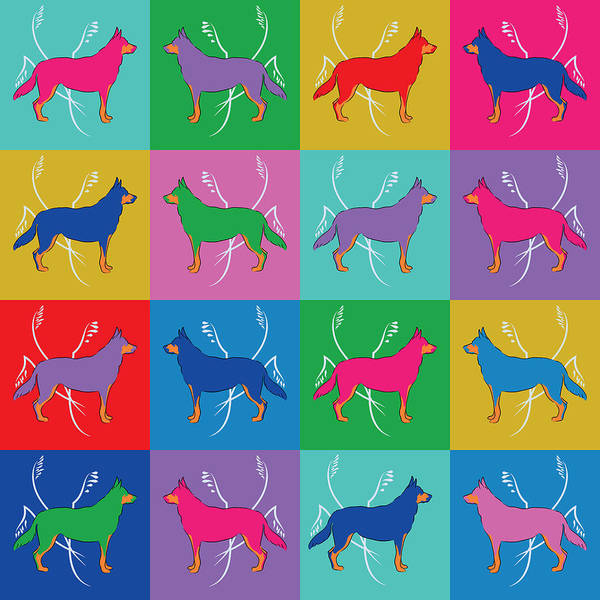 Digital Art - Pop Art German Shepherd Dogs by MM Anderson
