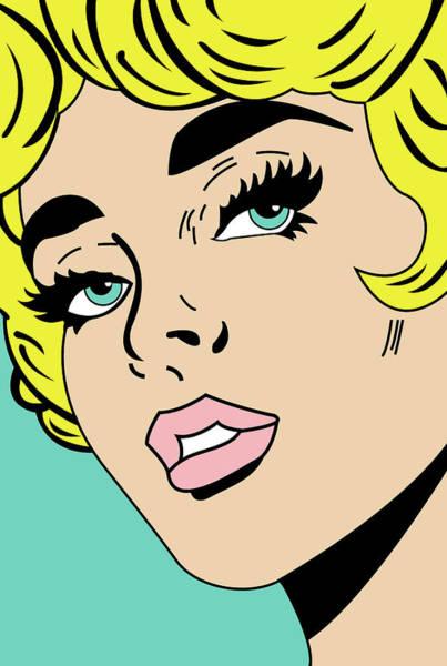 Wall Art - Digital Art - Pop Art Girl Face Closeup by Long Shot