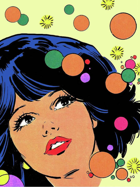 Wall Art - Painting - Pop Art Girl In Psychedelic Mood by Long Shot