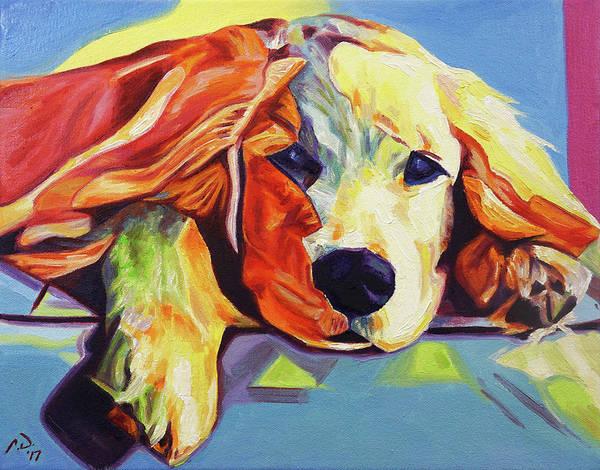 Service Dog Painting - Pop Art Golden Retriever Puppy by Cameron Dixon