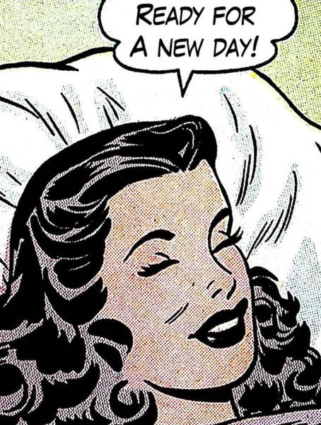 Wall Art - Painting - Pop Art Laying Girl With Speech Bubble by Long Shot
