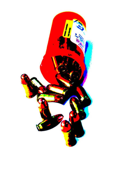 Wall Art - Photograph - Pop Art Of .45 Cal Bullets Comming Out Of Pill Bottle by Michael Ledray